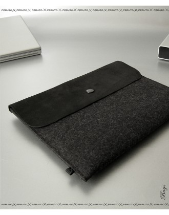 BLACK BASIC für iPad, iPad Air, Filz und Leder Sleeve