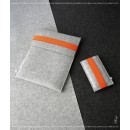 FELT DUETT Set für iPad und iPhone hellgrau/orange