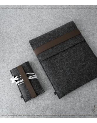 FELT DUETT Set für iPad und iPhone graphit/ dunkelbraun