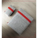 FELT DUETT set für iPad Air, iPad und iPhone hellgrau/rot