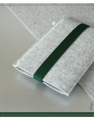 ARCHITECT Wollfilz für iPad Mini Sleeve hellgrau/dunkelgruen